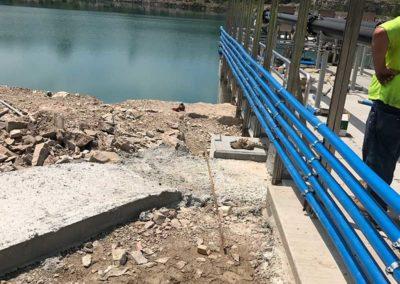 Pipeline on a river bridge