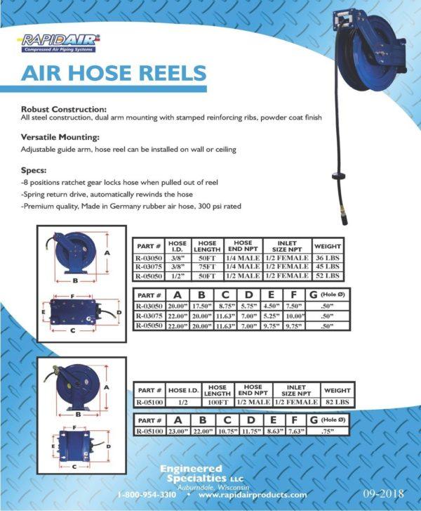 "RAPIDAIR R-03075 - DUAL ARM HOSE REEL - 3/8"" X 75 FT"